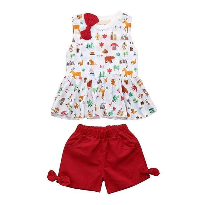 BBsmile 2pcs bebé recién nacido conjunto de ropa de dibujos animados chaleco de impresión tops pantalones cortos traje: Amazon.es: Ropa y accesorios