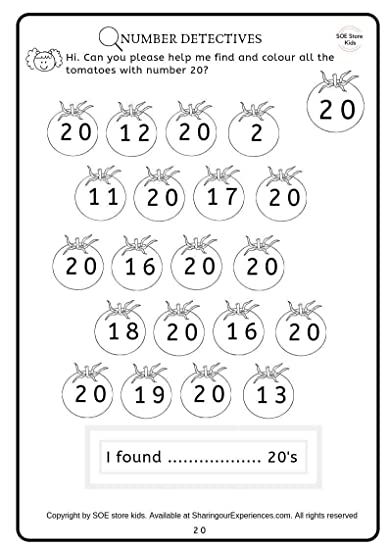 Numbers (1-20) Recognition Activity Book for Kids. 20 Pages Numbers  activities Preschool Worksheets for Kids (2-5 Years Nursery Toddlers  Preschool ...