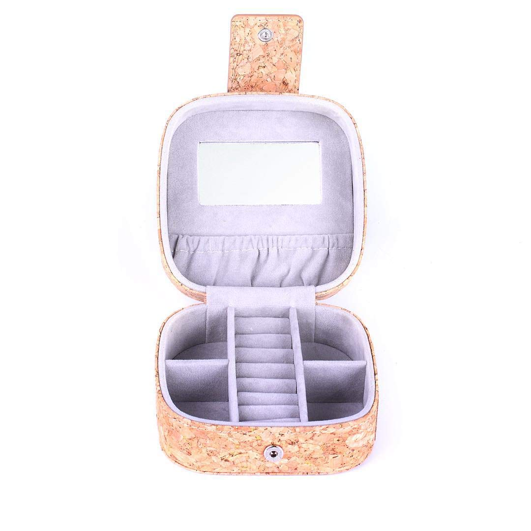 MANISHO Small Travel Jewelry Box Organizer Eco-Friendly Display Storage Case for Rings Earrings Necklace