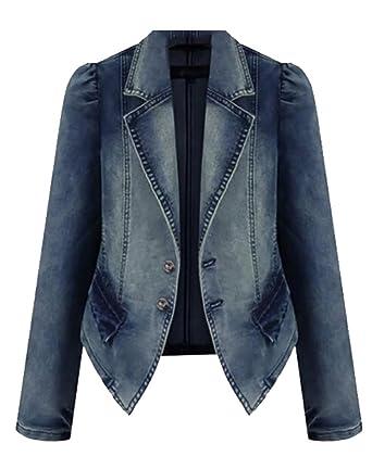 cfb4a50c08fac Fubotevic Women s Lapel Plus Size 2 Button Long Sleeve Denim Blazer Jacket Suit  Jean Coat As