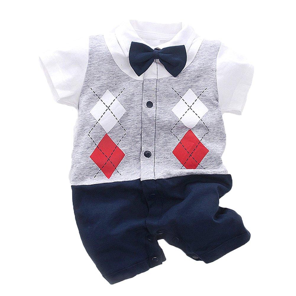 Fairy Baby Newborn Boy's Gentleman Romper Outfit with Bow Tie,0-3M,Short Grid