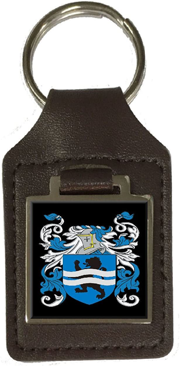 Mccambridge Family Crest Surname Coat Of Arms Brown Leather Keyring Engraved