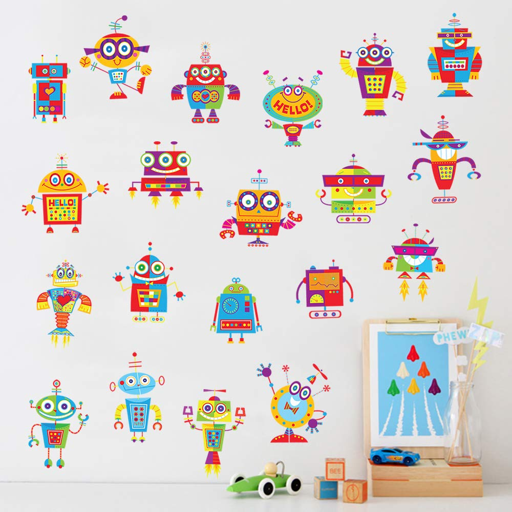 decalmile Cute Robots Wall Decals Boys Wall Stickers Playroom Kids Room Wall Decor