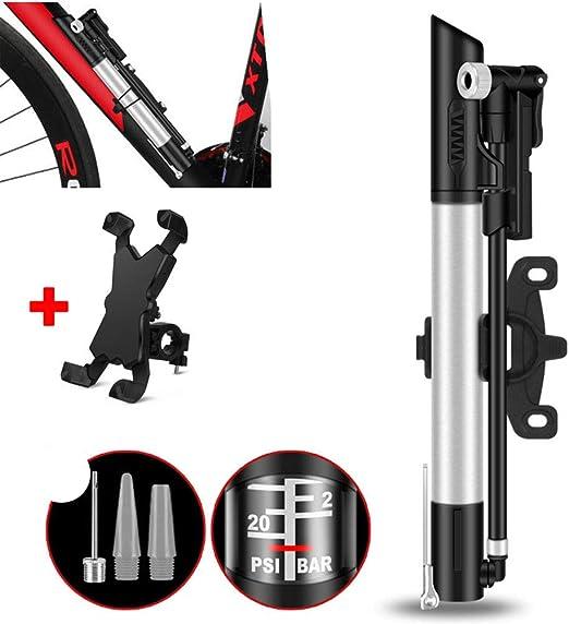 WWJJLL Bomba de Bicicleta, Bomba de Rueda de Coche con portátil del teléfono móvil de Soporte, Doble Cilindro de la Bomba Manual de Alta presión, adecuados para la Bola Juguetes de Bicicletas: