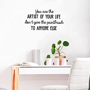 """Vinyl Wall Art Decal - You are The Artist of Your Life - 16"""" x 30"""" - Cute Inspirational Positive Quote Sticker for Living Room Playroom Office Meetings Conference Room School Classroom Decor (Black)"""