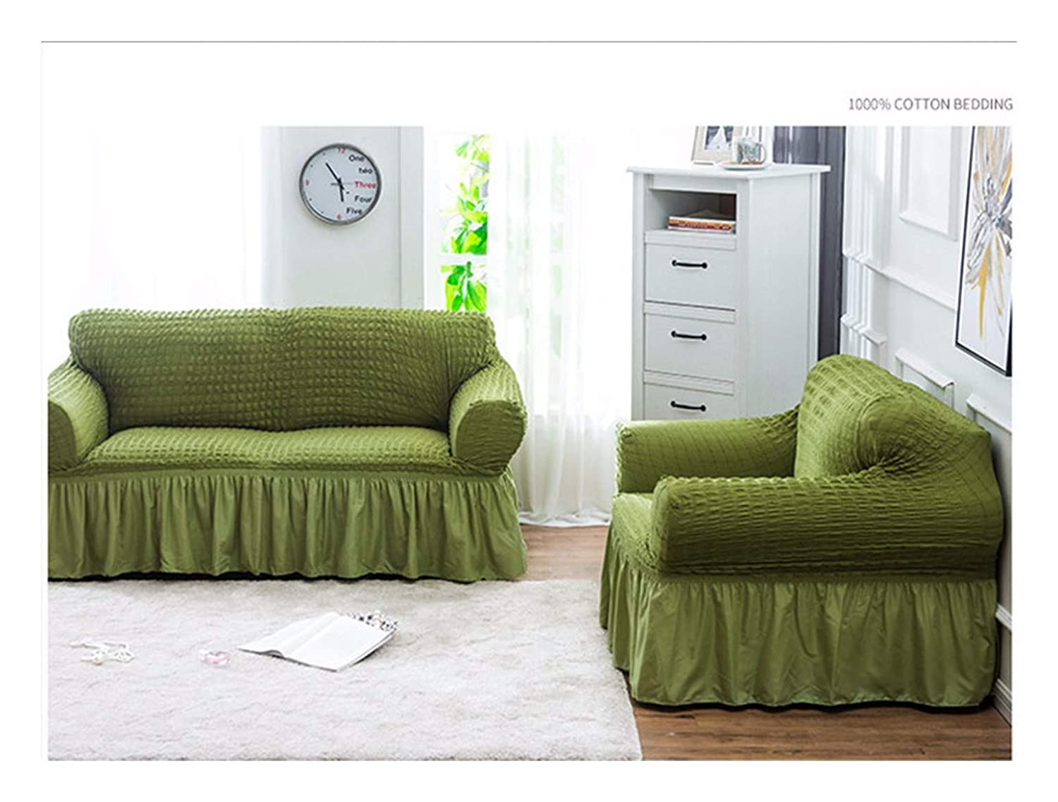 2seat VGUYFUYH Green Foam Yarn Skirt Sofa Cover Polyester Full Package Elasticity Antiskid Home Universal Sofa Cover Simple Fashion One Set Durable Dust-Proof Pet Dog Predective Cover,2Seat