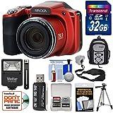 Minolta MN35Z 1080p 35x Zoom Wi-Fi Digital Camera (Red) 32GB Card + Backpack + Flash + Tripod + Strap + Kit