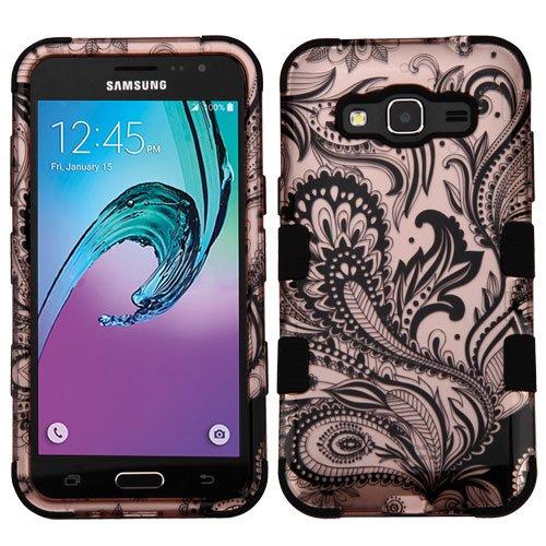 - Wydan Case for Samsung Galaxy J3V, Sky, Express Prime, Amp Prime, J3, Sol - TUFF Hybrid Hard Shockproof Case Protective Heavy Duty Impact Skin Cover - Phoenix Flower