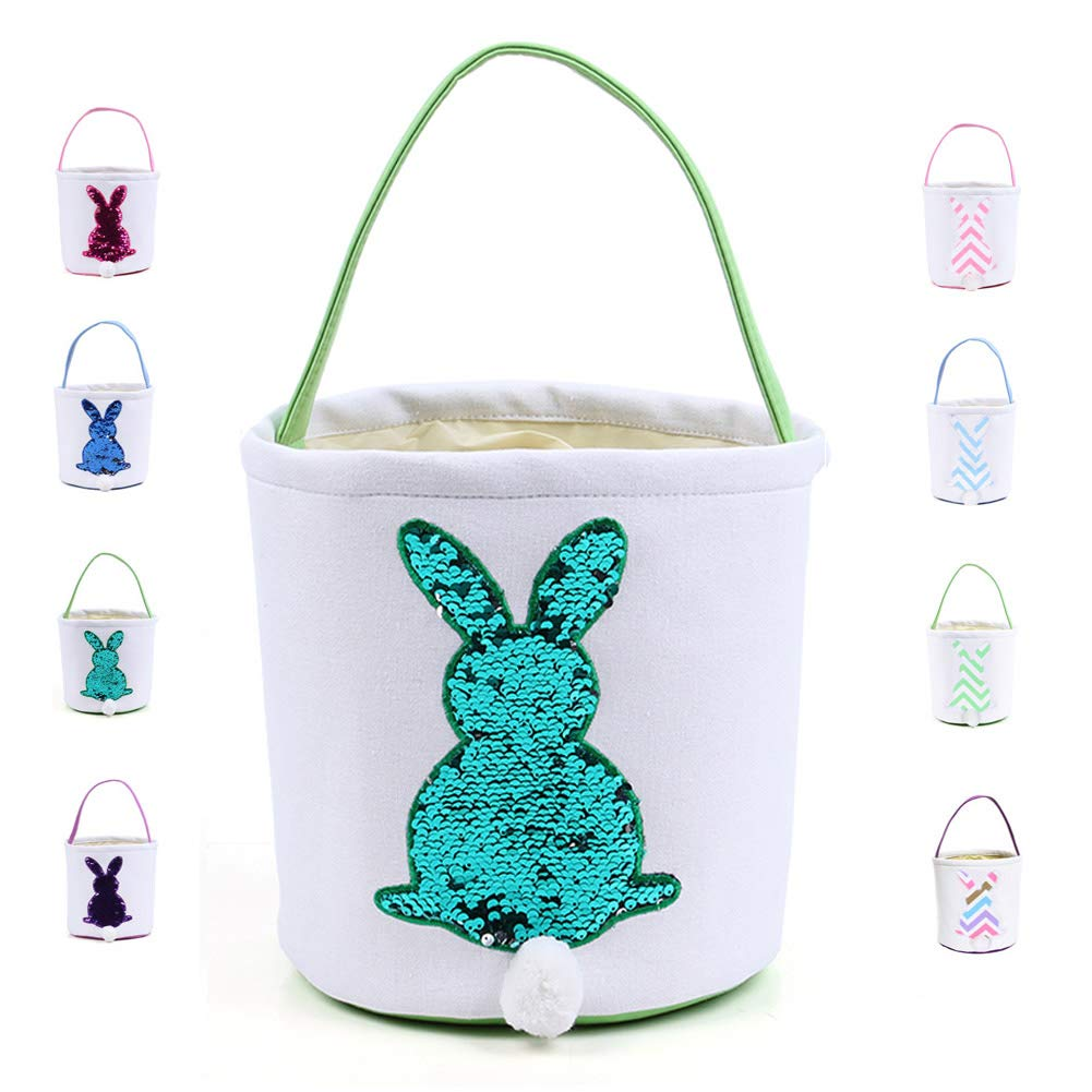 b2c547c6efae Warmhol Easter Bunny Bags for Kids Cloth Easter Eggs/Gift Basket Easter  Party Tote Bags for Kids(Paillette, Green)