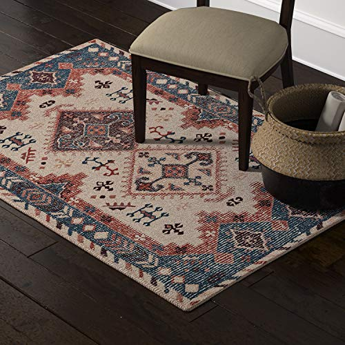 Stone Beam Modern Distressed Vintage Persian Area Rug, 4 x 6 Foot, Multicolor