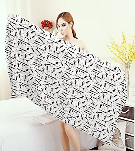 Dog Thick Towels Dachshund Design Monochrome Animal Silhouette Abstract Cartoonish Bones Canine Pattern 3D Printed Microfiber Beach Towel Black White - 3d Dog Bone