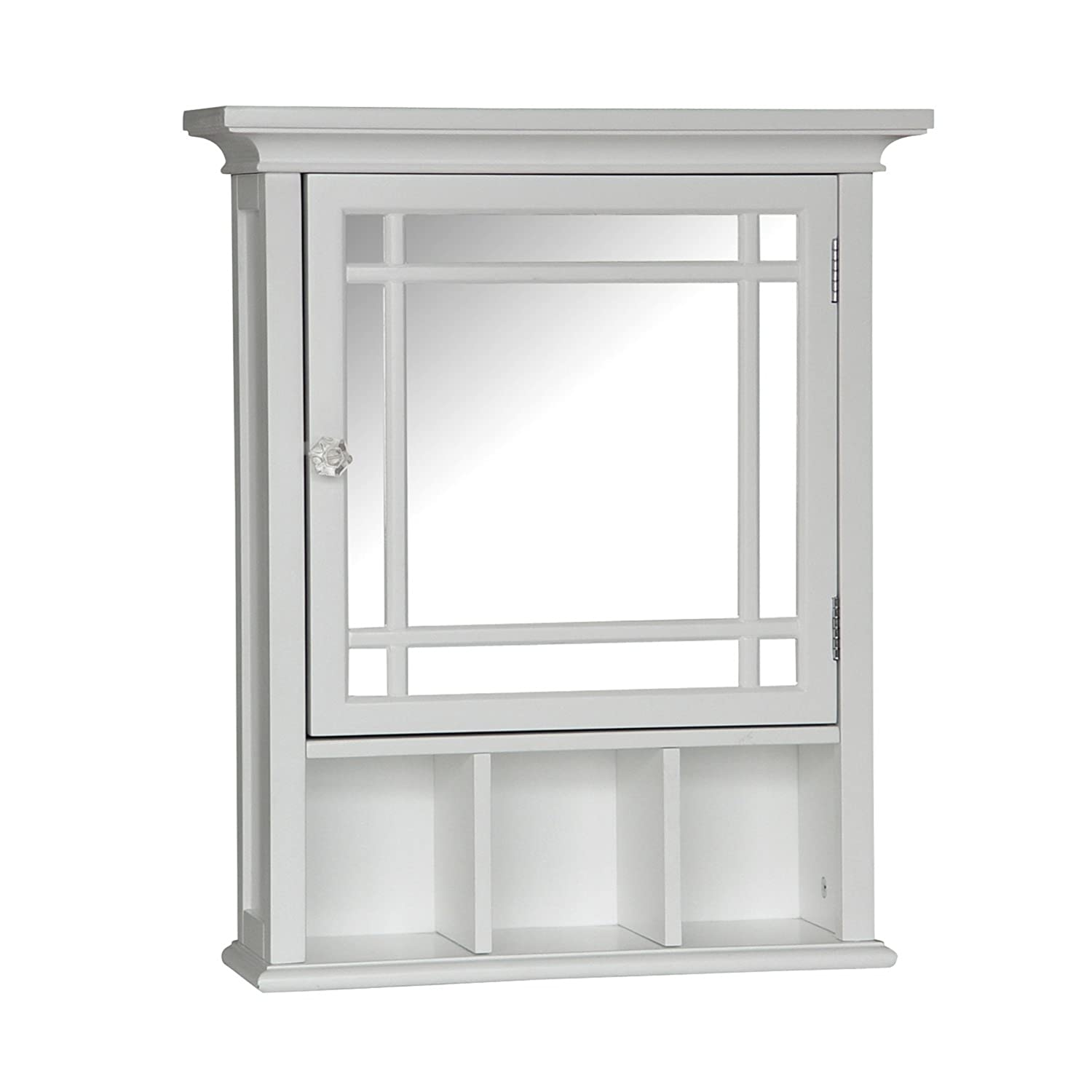 Built in bathroom medicine cabinets - Amazoncom Elegant Home Fashions Neal Collection Mirrored Medicine Cabinet White Kitchen U0026 Dining