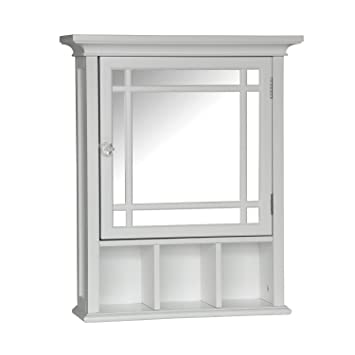 Beau Elegant Home Fashions Neal Collection Mirrored Medicine Cabinet, White