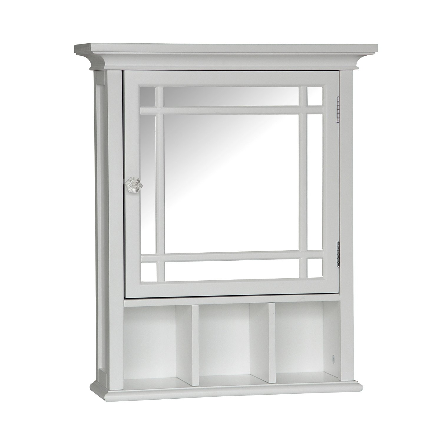 Elegant Home Fashions Neal Collection Mirrored Medicine Cabinet, White