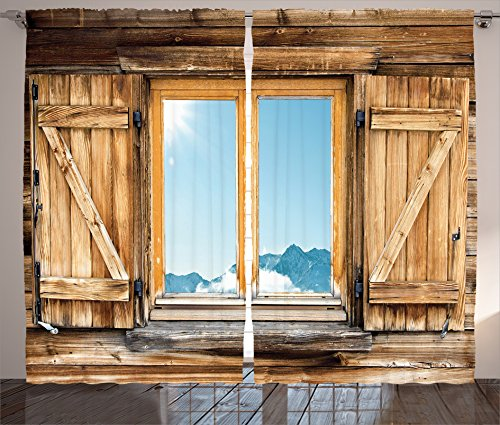 Ambesonne Shutters Decor Collection, Weathered Facade of A Mountain Hut with Mountain Reflection in The Window Picture, Living Room Bedroom Curtain 2 Panels Set, 108 X 84 Inches, Beige Blue Teal
