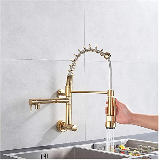 Amazon Com Kitchen Faucet Wall Mounted With Pull Down Spring Spout 360 Degree Swivel Kitchen Mixer Sink Tap Gold Home Kitchen