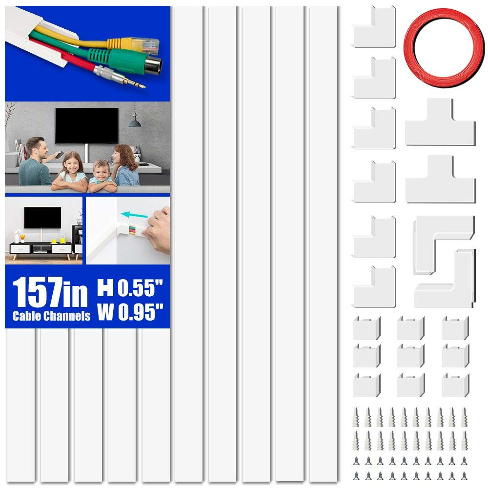 Cord Covers Raceway Kit, 157'' Cable Management Channel, Paintable Cord Concealer System Covers Cables, Cord Wires, Hiding Wall Mount TV Power Cords in Home Office, 10X L15.7in X W0.95in X H0.55in