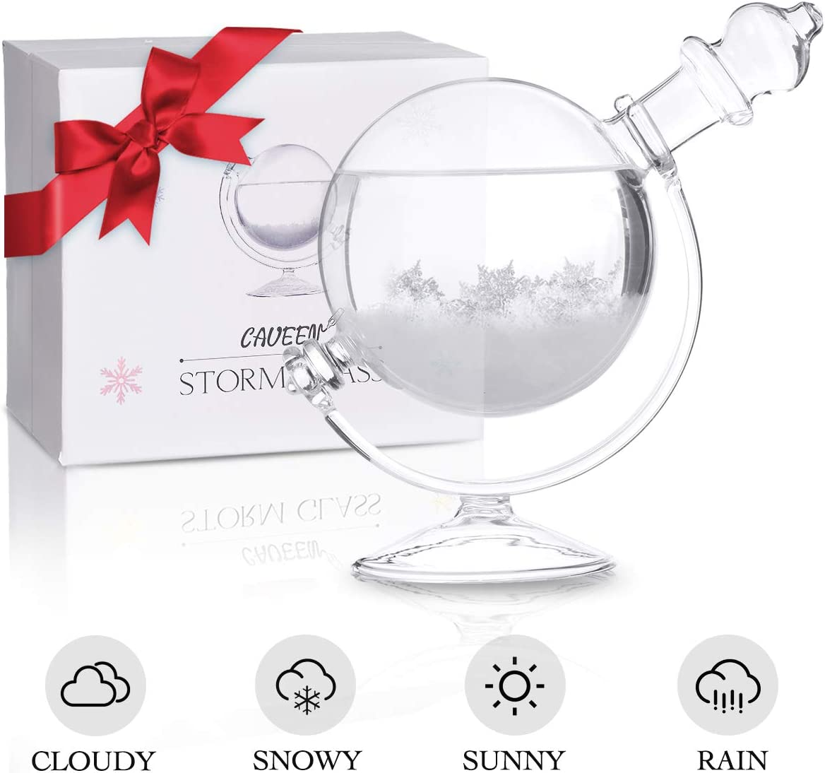CAVEEN Storm Glass Weather Station Globe Crystal Weather Forecaster with Wooden Base, Desktop Weather Predictor Decorative Glass Bottle Creative Stylish Decoration for Home or Office