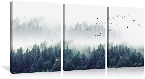 3 Piece Large Nature Forest Landscape Canvas Wall Art Misty Forests Of Green Pine Coniferous Trees Poster And Prints Paintings Home Decor For Living Room Bedroom Framed Ready To Hang Amazon Ca Home