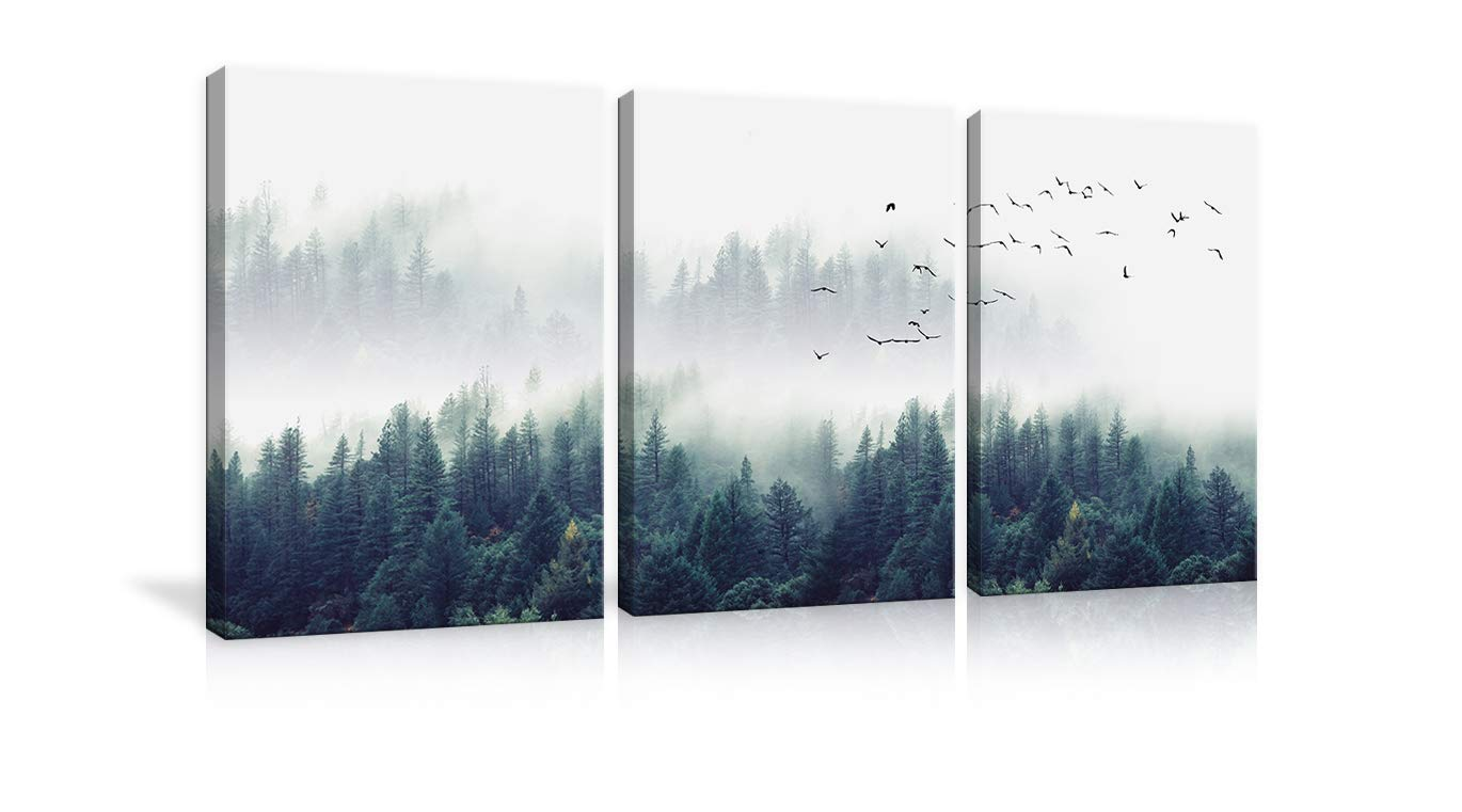3 Piece Nature Forest Landscape Canvas Wall Art Misty Forests of Green Pine Coniferous Trees Poster and Prints Paintings Home Decor for Living Room Bedroom Framed Ready to Hang