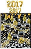 New Year's 2017 Golden Bonanza Party Assortment with Balloons for 100 Pkg/1