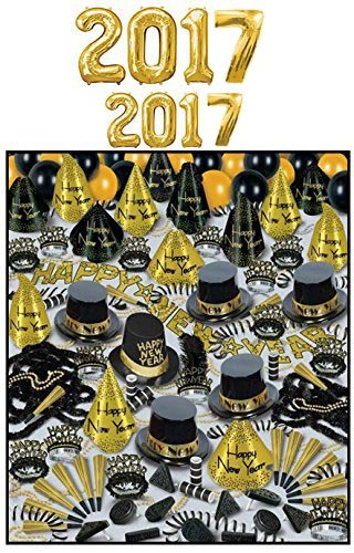 New Year's 2017 Golden Bonanza Party Assortment with Balloons for 100 Pkg/1 by Beistle