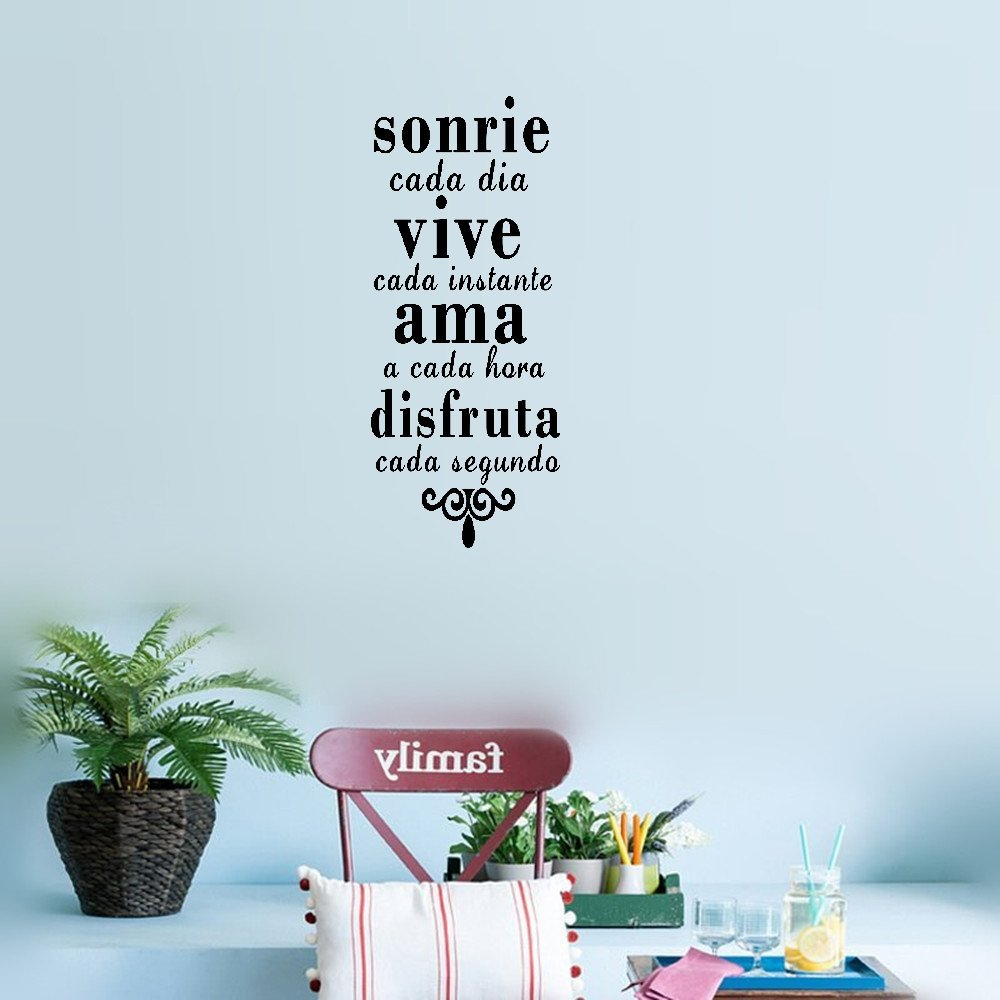 earck Wall Sticker Quotes Inspirational Spanish Quotes Smile Everyday Live Every Moment Vinyl Art Wall Stickers Home Destination