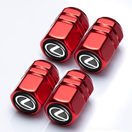 4PCS Sport Styling RED Tyre Valve Caps Accessories Tire Wheel Dust Cover Lexus
