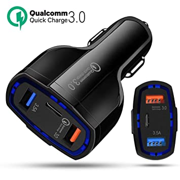 ULTRICS USB Cargador Coche, 3 Puertos 36W Rápida Car Charger, Universal Encendedor de Cigarrillos Carga Adaptador Compatible con Apple iPad iPhone ...