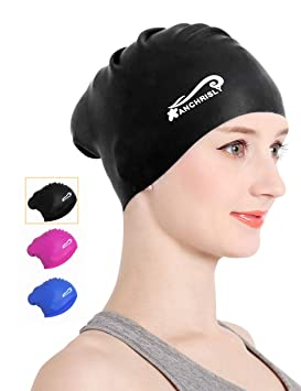 f8ce4d78f9c Silicone Long Hair Swim Cap, Waterproof Swimming Caps for Women Younth  Girls Children and Kids Pretty Bathing Cap for Dreadlocks Keeps Hair Clean  Ear Dry ...