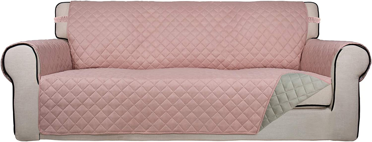 PureFit Reversible Quilted Sofa Cover, Water Resistant Slipcover Furniture Protector, Washable Couch Cover with Non Slip Foam and Elastic Straps for Kids, Dogs, Pets (Sofa, Pink/Beige)