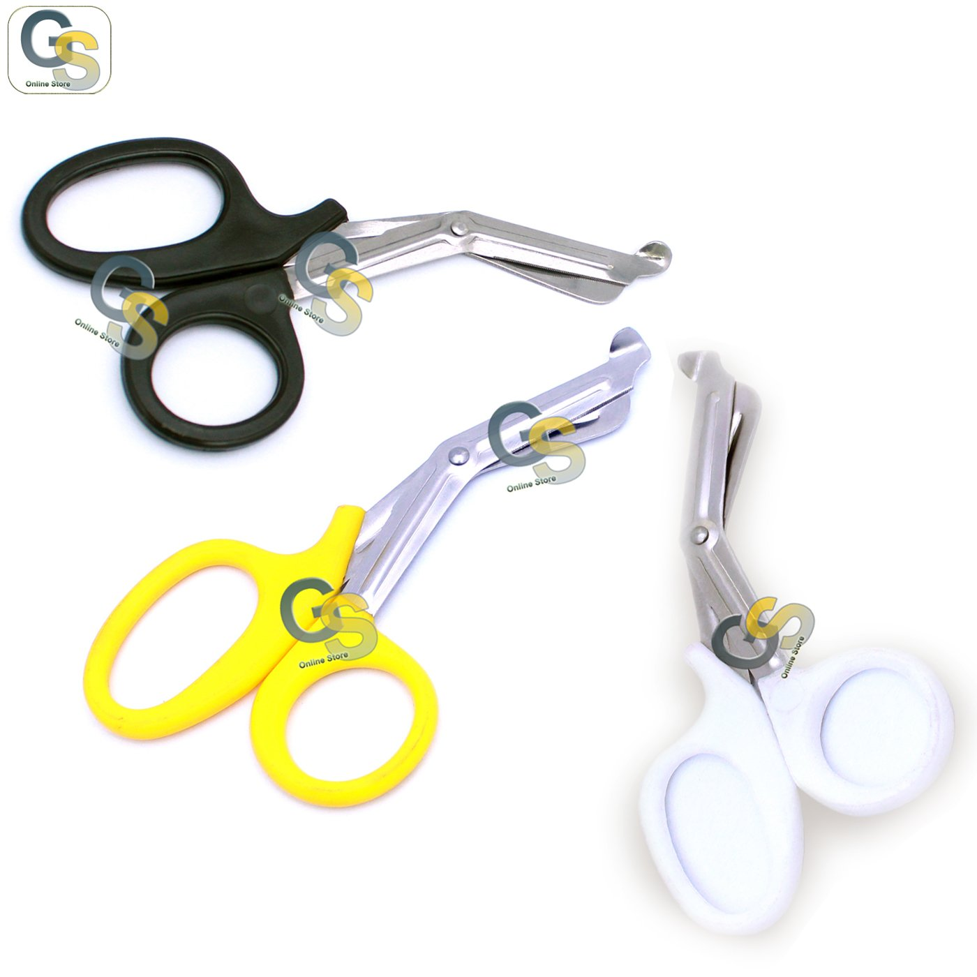 G.S 3 PCS (BLACK & YELLOW & WHITE) PARAMEDIC UTILITY BANDAGE TRAUMA EMT EMS SHEARS SCISSORS 7.25 INCH STAINLESS STEEL