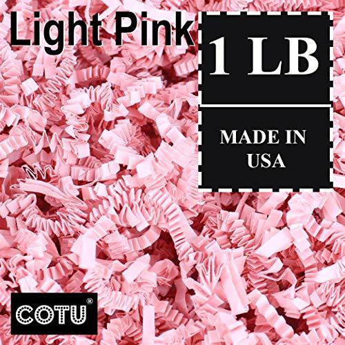 1 LB Light Pink Crinkle Shred Gift Basket Shred Crinkle Paper Filler Bedding by COTU (16 oz)]()