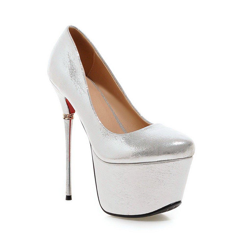 AdeeSu Girls Spikes-Stilettos Light Polyurethane Pumps Shoes B01MTQ386V 7 B(M) US|Silver