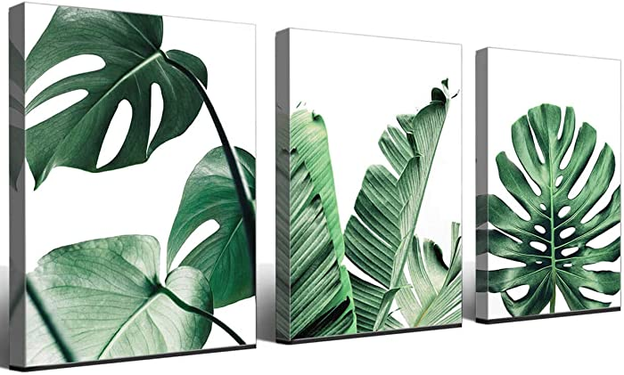 Canvas Wall Art Green Leaf Simple Life Painting Dathroom Wall Decor Monstera Plant 3 Pieces Framed Canvas Pictures Contemporary Watercolor Artwork Ready to Hang for Home Decoration Office Wall Decor