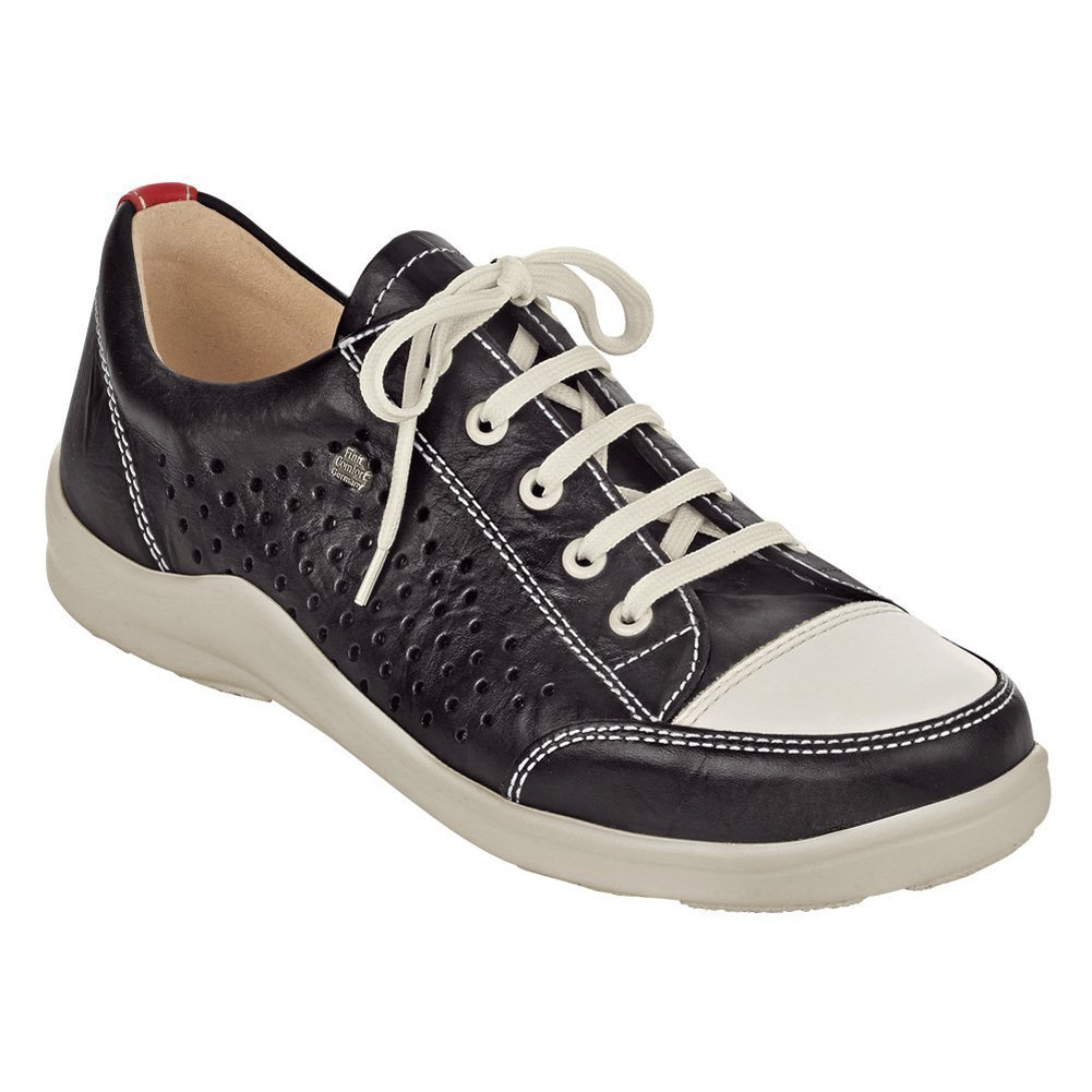 Finn Comfort Women's Soft Charlotte Fashion Sneakers, Black, Leather, 39 EU / 8-8.5 M US