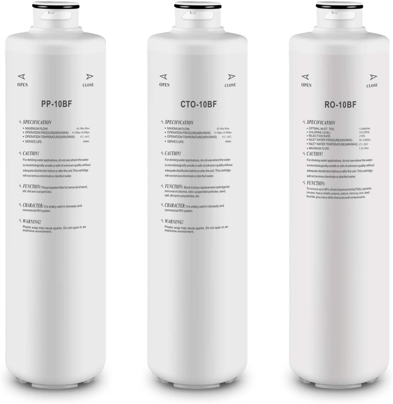 Replacement Filters Set for Geekpure 3-Stage Countertop RO Water Dispenser T03