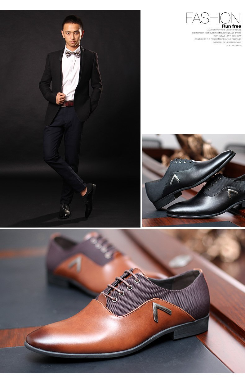 Men Pointed Toe Business Dress Formal Leather Shoes Flat Oxfords Loafers Slip On by Gaorui (Image #7)