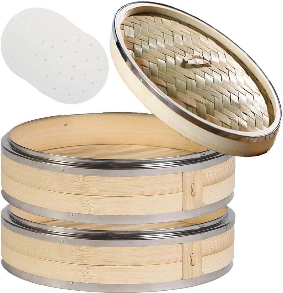 Freedomanoth Vapeur en Bambou Vapeur Bamboo Premium Oriental Cuit Vapeur Bambou Un Paquebot en Bambou avec Une Cage Et Un Couvercle Ustensiles De Cuisine