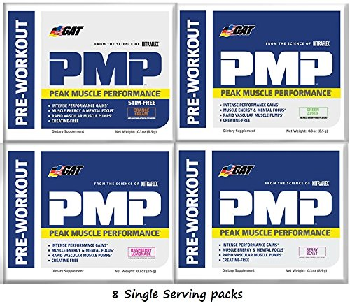 GAT PMP(Peak Muscle Performance)Pre Workout Powder 8 Single Serving Packs