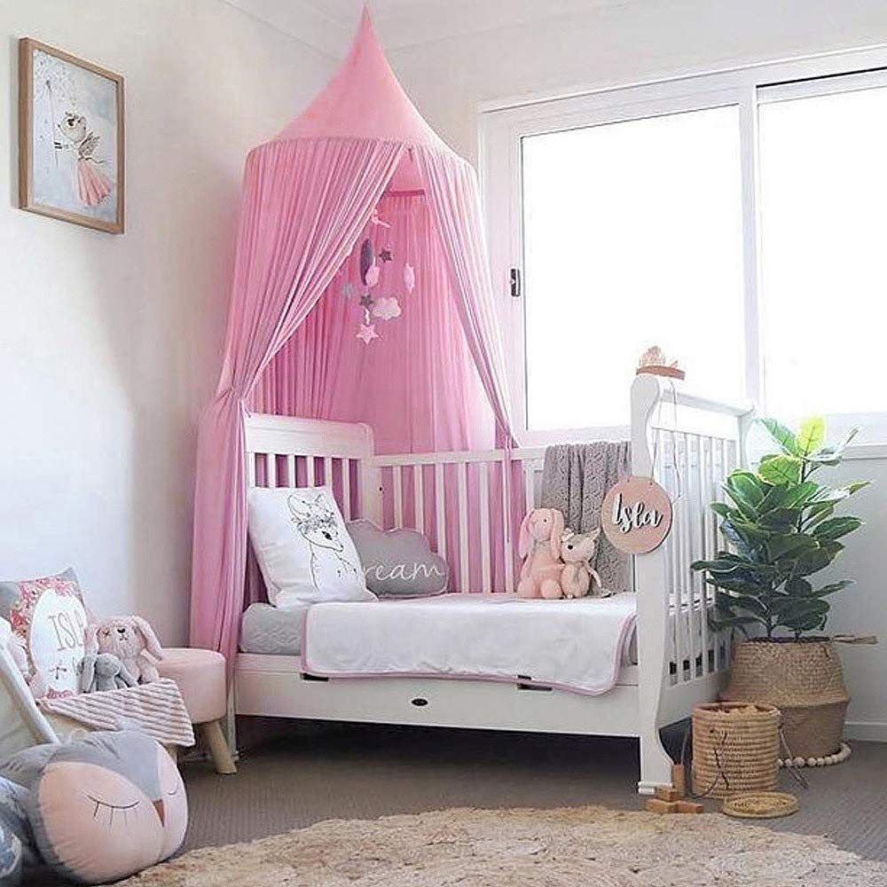 Tasera Bed Canopy, Mosquito Net Canopy Yarn Play Tent for Kids Playing Reading with Children Dome Netting Curtains Baby Boys and GirlsIndoor Games House (Pink) by Tasera (Image #2)