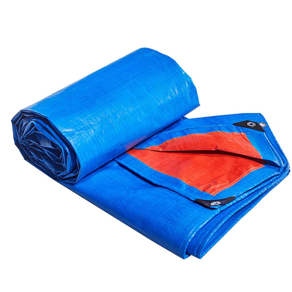JHNEA Tarpaulin Heavy Duty Waterproof, Poly Tarp Cover UV Resistant with Grommets and Reinforced Edges Outdoor Tarps,Blau_6x8m