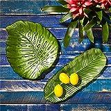 Twos Company Set of 2 Tropical Leaf Serving Plates