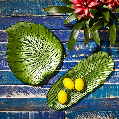 Twos Company Set of 2 Tropical Leaf Serving Plates by Two's Company