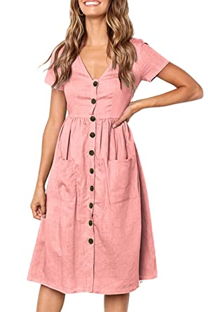 a6fb80a3c30 Boosouly Ladies Cocktail Dress Sexy V Neck Short Sleeve Button Trim Swing  Midi Dress Pink S