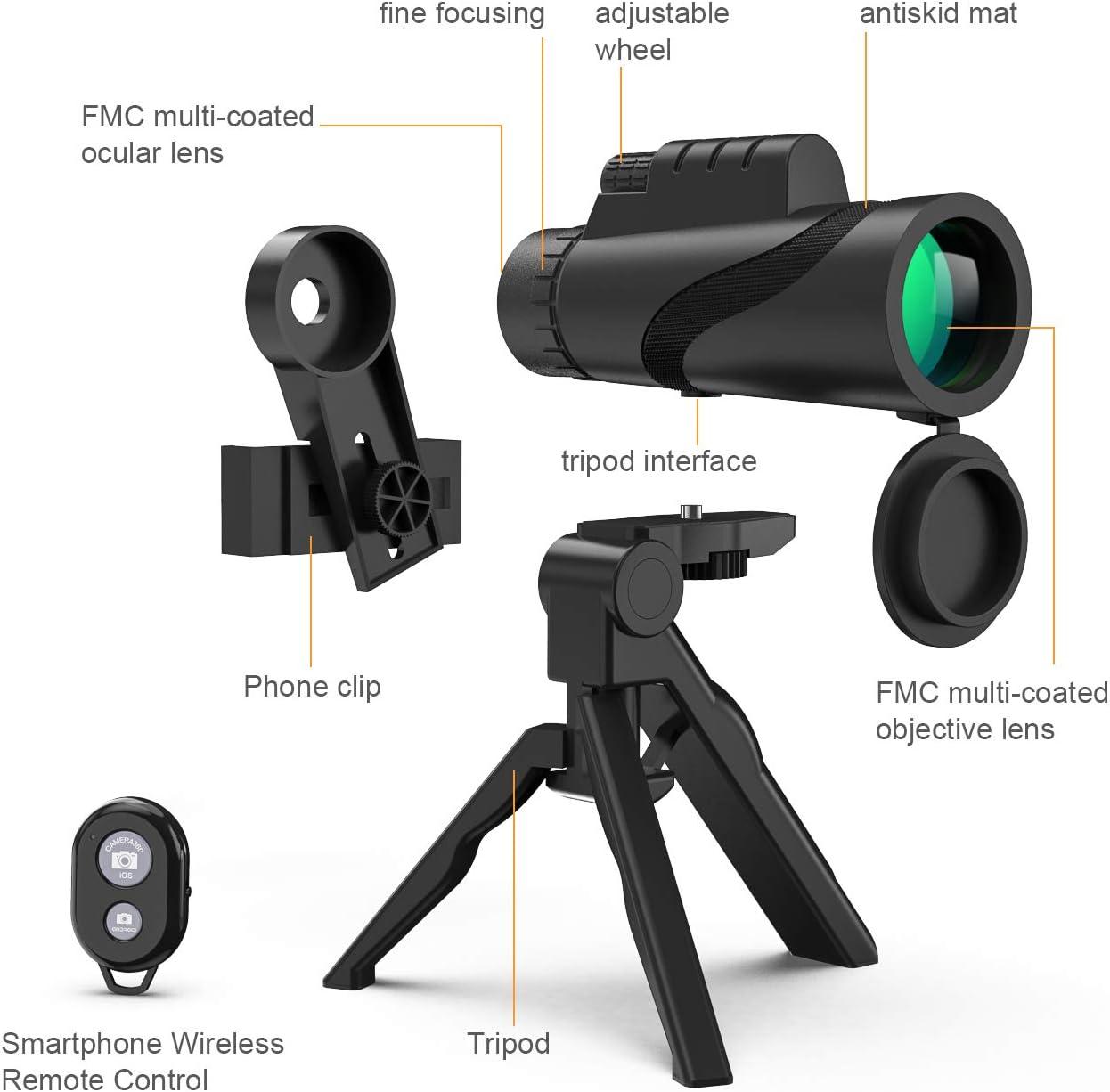 Dilwe Telescopio Monocular Impermeable Port/átil 10x42 Telescopio HD con Adaptador y Tr/ípode R/ápidos para Tel/éfonos Inteligentes