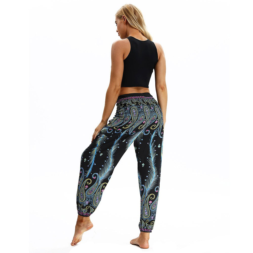 Boho Hippie Gypsy Smocked High Waist Loose Fit Baggy Yoga Pants Hippie Baggy Trousers 4Clovers Yoga Harem Pants