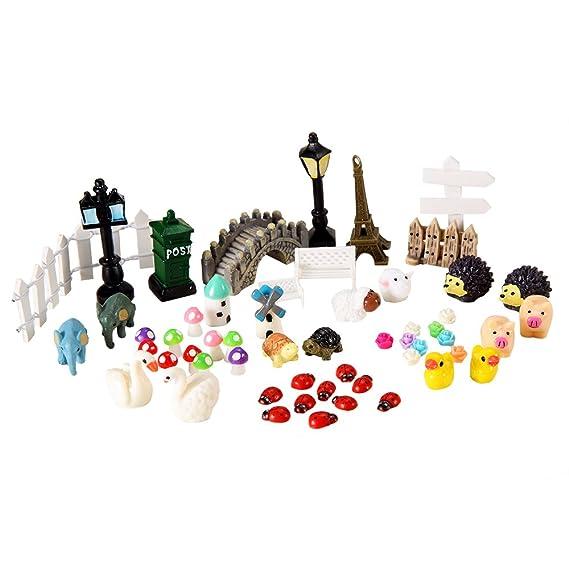 SoAmazing - Figuras en miniatura para decoración de jardín o casa de muñecas, 56 piezas: Amazon.es: Jardín