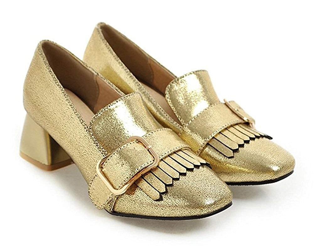 Unm Womens New Fringed Buckle Strap Square Toe Slip On Dress Chunky Low Heels Loafers Shoes