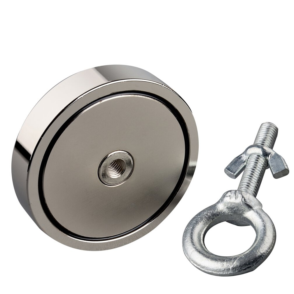 Mutuactor Vertical Magnetic Pull Force 550LBS Super Powerful Neodymium Fishing Salvage Magnet With M10 Eyebolt